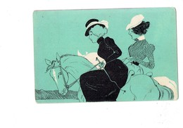 Cpa Illustration - M.M. Vienne - Femme élégante Cheval Cavalière - 1902 - Cravache - Mode Chapeau - Vienne