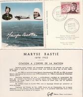 CARTE MAXIMUM - Maryse BASTIE - 1955 - Maximum Cards