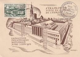 CARTE MAXIMUM - Conseil De L'Europe - 1952 - Maximum Cards