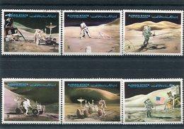 SPACE, MAN ON THE MOON / ESPACIO, HOMBRE EN LA LUNA  AJMAN MICHEL 1267 / 1272 A COMPLETE SET OBLITERES -LILHU - Space