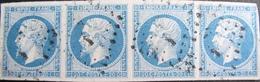 R1680/210 - NAPOLEON III (SUPERBE BANDE DE 4 TIMBRES) N°14B Nuance Bleu Ciel - LUXE - Cote Supérieure à 100,00 € - 1853-1860 Napoleon III