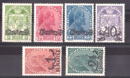 Liechtenstein - 1920 - N° 11 à 16 - Neufs * - Jean II Et Armoiries - Surchargés - Ongebruikt
