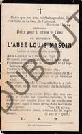 Doodsprentje Pater/Frère L'Abbé Louis Masoin °1870 Louvain †1896 Tessenderlo(F138) - Décès