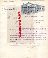 80- AMIENS- RARE LETTRE SIGNEE PARMENTIER- HOTEL BELLEVUE -18 PLACE FIQUET RUE VULFRAN WORME-GARE DU NORD-1921 - Petits Métiers