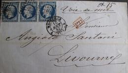 R1680/209 - ✉️ (LSC) PAR VOIE MARITIME - NAP. III (BANDE DE 3) N°14Aa Bleu Très Foncé - MARSEILLE > LIVOURNE (ITALIE) - 1853-1860 Napoleon III