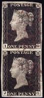 1840 Penny Black Paar Vollrandig Leicht Gestempelt - Oblitérés