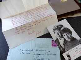 Lettre Et Carte Autographiées Acteurs MEDHI  Et Cecile Aubry Belle Et Sébastien - Entertainers