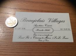 Etiquette Vin 1990 «BEAUJOLAIS VILLAGES -Trénel Fils - Charnay-les-Mâcon (71)» - Beaujolais
