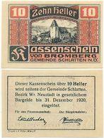 Bromberg Gemeinde Schlatten, 1 Schein Notgeld 1920, Kirche, Österreich 10 Heller - Autriche