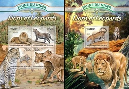 Niger 2013, Animals, Lions And Leopards, 4val In BF +BF - Niger (1960-...)