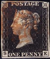 1840 Penny Black Vollrandig Mit Rotem Malteserkreuz Stempel - 1840-1901 (Victoria)