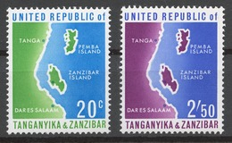 Tanzania 1964 Mi# 1+ 4** UNION OF TANGANYIKA AND ZANZIBAR, MAP - Tanzania (1964-...)
