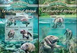 Niger 2013, Animals, Manatee, 4val In BF +BF - Niger (1960-...)
