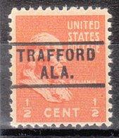USA Precancel Vorausentwertung Preo, Locals Alabama, Trafford 729 - Etats-Unis