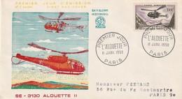 FDC - 1000 Fr  ALOUETTE - PA N°37 - 1958 - FDC
