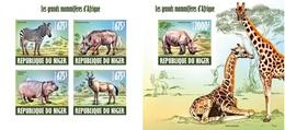 Niger 2013, Animals, Rhino, Giraffs, Zebra, 4val In BF+BF BF IMPERFORATED - Niger (1960-...)