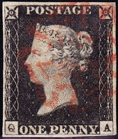 1840 Penny Black Vollrandig Mit Rotem Malteserkreuz Stempel - Oblitérés