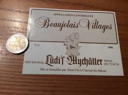 Etiquette Vin 1986 «BEAUJOLAIS VILLAGES - Trénel Fils - Charnay-les-Mâcon (71)» Export Suisse (Kirchberg) - Beaujolais