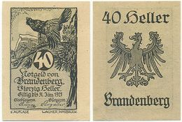 Brandenberg Bei Aschau, 1 Schein Notgeld 1921, Auerhahn, Österreich 40 Heller - Autriche