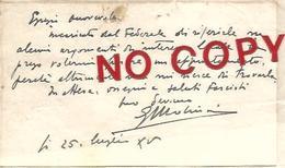 Molinari Tosatti Giulio, Bazzano 25.7.1937, Fascismo, Biglietto Da Visita, Testo Autografo Firmato Spedito Ad Onorevole. - Autographs