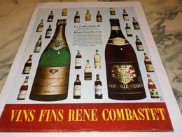 ANCIENNE PUBLICITE  VIN DE FRANCE RENE COMBASTET 1965 - Alcools