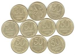 USSR, Ten Soviet 50 Kop. Coins, Different Years, 1964-1988 - Russie