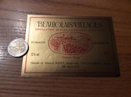 Etiquette Vin «BEAUJOLAIS VILLAGES - DOMAINE DUPERRON - Creuze Noire - N Et M RIVET - CHASSELAS (71)» - Beaujolais