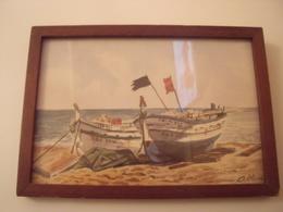 Tableau Avec Vue Sur La Mer ,avec  Deux Barques Sur La Rive-Signé Aoline - Autres Collections