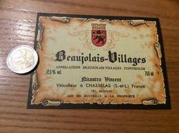 Etiquette Vin «BEAUJOLAIS VILLAGES - Ricastro Vincent - CHASSELAS (71)» - Beaujolais