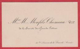 Mme M. Monfils Chesneau, De La Société Des Gens De Lettres, 50 Bis Avenue De La Grande Armée, Paris. - Visitenkarten