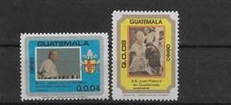 GUATEMALA 1984, VISIT OF THE POPE JOHN PAUL II, ANNIVERSARY, 2 VALUES, MICHEL 1238/9, SCOTT C776/7 - Guatemala