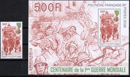 FRENCH POLYNESIA, 2018, MNH,WWI, CENTENARY OF WWI, SOLDIERS, MEDALS, 1v+S/SHEET - WW1