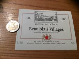 Etiquette Vin 1988 «BEAUJOLAIS VILLAGES - CHATEAU DE LA TOUR - VIARD FRÈRES - MERCUREY (71)» - Beaujolais