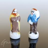 Feve Lot Santon Creche Personnage Roi Mage Et Menier Porcelaine Miniature - Santons