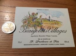 Etiquette Vin «BEAUJOLAIS VILLAGES - F. Protheau Et Fils - MERCUREY (71)» - Beaujolais