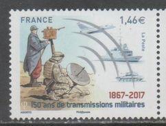 FRANCE, 2017, MNH, MILITARY TRANSMISSIONS, PLANES, SHIPS, TANKS, SATELLITES, 1v - Barche