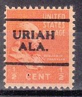 USA Precancel Vorausentwertung Preo, Locals Alabama, Uriah 701 - Vereinigte Staaten