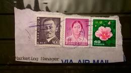 FRANCOBOLLI STAMPS COREA DEL SUD KOREA 1983 SU FRAMMENTO SERIE PERSONALITA FLORA - Korea (...-1945)