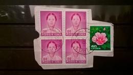 FRANCOBOLLI STAMPS COREA DEL SUD KOREA 1982 SU FRAMMENTO QUARTINA PERSONALITA RYU KWAN SOON FLORA - Corea (...-1945)