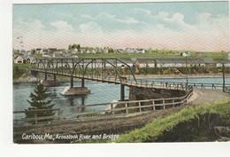 CARIBOU, Maine, USA, Town & Aroostook River Bridge, 1907 Leighton Postcard - United States