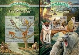 Niger 2013, Animals, Monkeys, 4val In BF +BF - Niger (1960-...)
