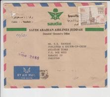 Saudi Arabia Air Line Cover To Pakistan,          (A-399L) - Arabie Saoudite