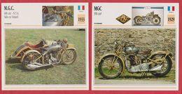 Moto MGC, 2 Fiches Illustrées De Ces Motos Françaises, Une 350 Cm3 De 1929, Une 600 Cm3 N3A Side Car Simard De 1933. - Sports