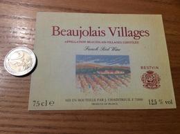 Etiquette Vin «BEAUJOLAIS VILLAGES - J. CHAINTREUIL - MÂCON (71)» - Beaujolais