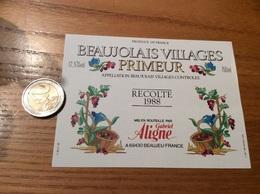 Etiquette Vin 1988 «BEAUJOLAIS VILLAGES PRIMEUR - Gabriel Aligne - BEAUJEU (69)» - Beaujolais