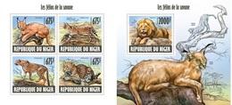 Niger 2013, Animals, Savannah Wild Cats, 4val In BF +BF - Niger (1960-...)