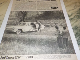 ANCIENNE PUBLICITE VOITURE FORD TAUNUS 12 M  1965 - Voitures