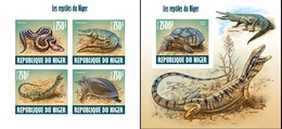 Niger 2013, Animals, Turtle, Crocodrile, Lizard, 4val In BF+BF BF IMPERFORATED - Niger (1960-...)