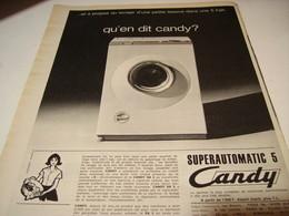 ANCIENNE AFFICHE PUBLICITE MACHINE A LAVER DE CANDY  1965 - Autres