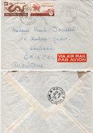 Envelppe Adressée De L' Aero Port HANOI En Angleterre - Cachet Aero Port Hanoi Sur Tiùmbres Du Viet Nam (110575) - Viêt-Nam